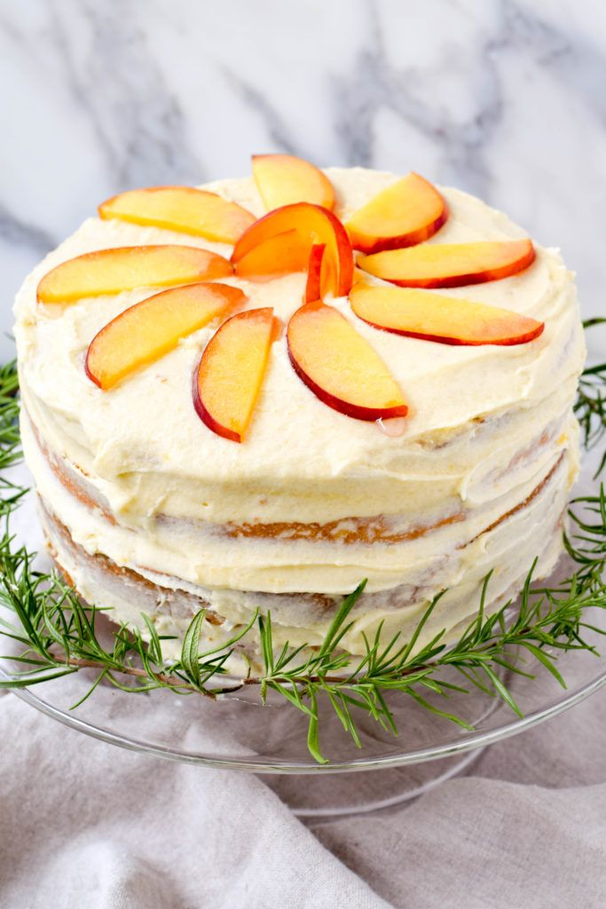 Naked peach cake with peach buttercream. A summer classic!