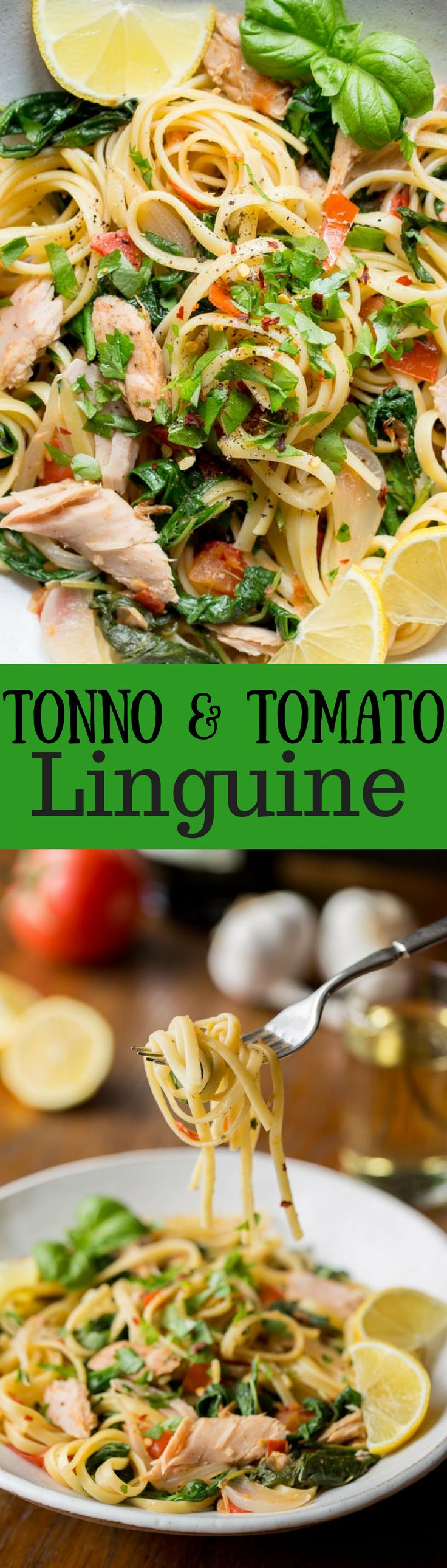 Tonno & Tomato Linguine with sweet onion and arugula ~ a delicious, quick and nutritious recipe that comes together in minutes!  www.savingdessert.com