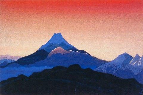 Nicholas Roerich - Fujiyama (tempera on cardboard, 1936)