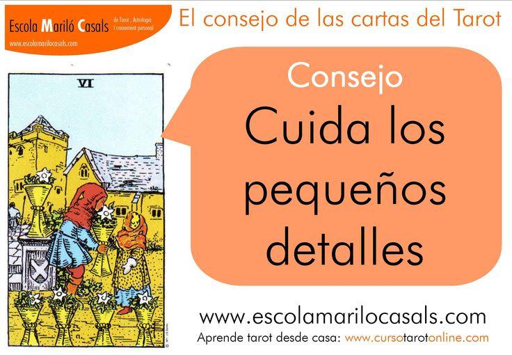 Cuida los pequeños detalles.  #consejo #Tarot #aprender #Tarot #arcanosmenores #copas #caliz #6 #6copas #emocional #alejarse #sentimientos #elemento #agua #estudiar #tarot #barcelona #escuela #tarot #escuela #online #tarotfácil #arcanos #menores #detalles #ilusion #pueblos #nostalgia #recuerdos #galope #Raider #Waite