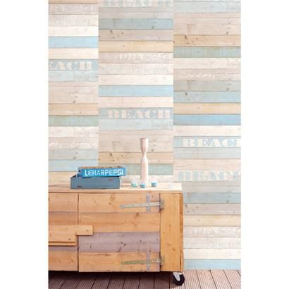Wallpaper mural looking like color-washed wood. Brewster