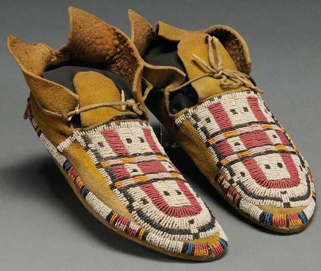 Moccasins; Cheyenne, Beaded Hide, 9 inch. 1875-1900    I can imagine the hours of work it took to make these!