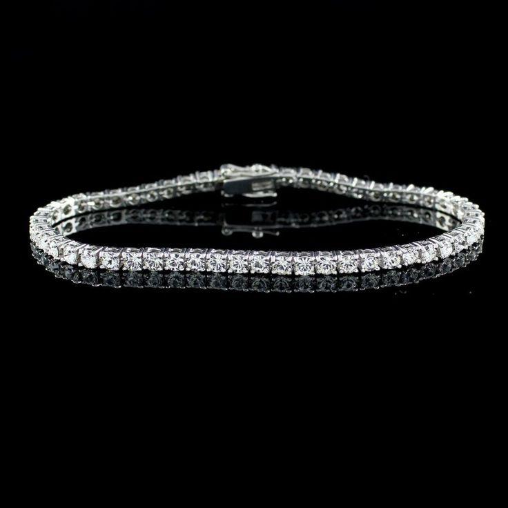 "Joan Rivers Look of Diamonds & Platinum White Gold GP 7.5"" Line Bracelet Y038 #JoanRivers #Line"