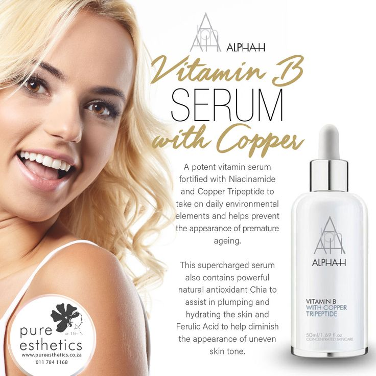 Alpha-H Vitamin B Serum A potent vitamin serum fortified with Niacinamide and Copper Tripeptide to take on daily environmental elements and helps prevent the appearance of premature ageing. This supercharged serum also contains powerful natural antioxidant Chia to assist in plumping and hydrating the skin and Ferulic Acid to help diminish the appearance of uneven skin tone For more information or a booking please contact us at +2711 784 1168 @AlphaHQ #PureEsthetics #AlphaHSouthAfrica