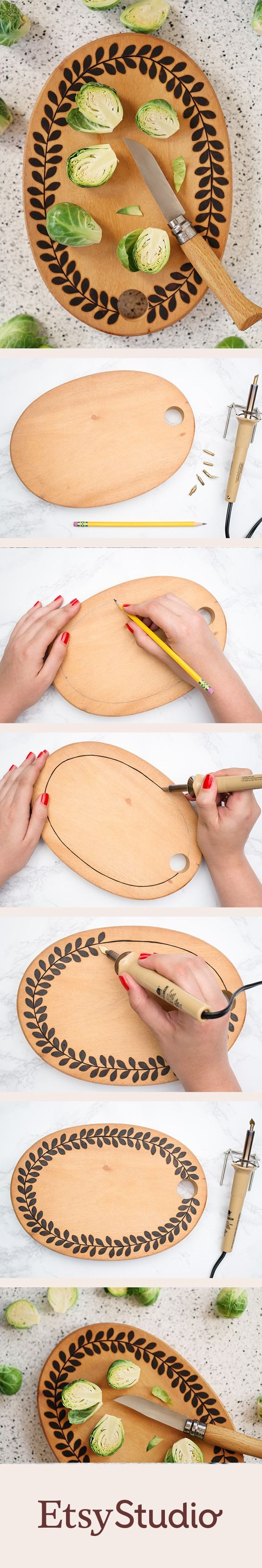 Creating a custom cutting board is easy with a wood burning tool and a little inspiration.
