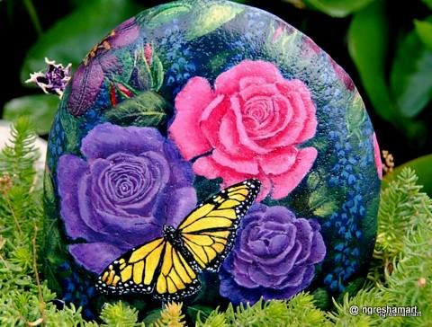 Purple Roses,pink Roses,yellow Butterfly,handpainted Rocks,garden Decor,home