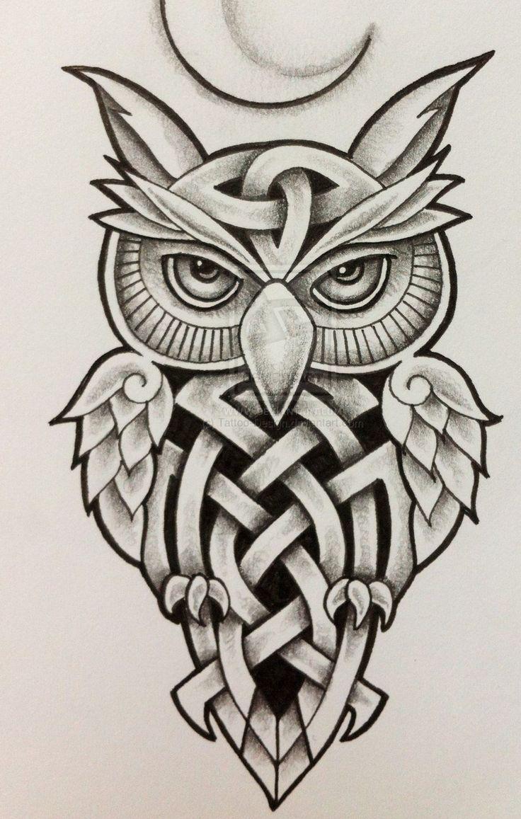 Owl greeting card set welsh artist jen delyth celtic art studio - I Love Owls In Tattoo Form Celtic Owl And Moon By Tattoo Design Deviantart