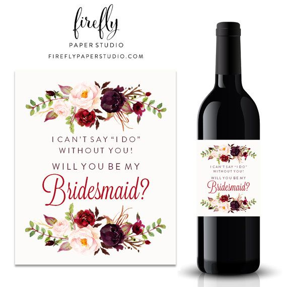 Will You Be My Bridesmaid Wine Label by FireflyPaperStudio on Etsy