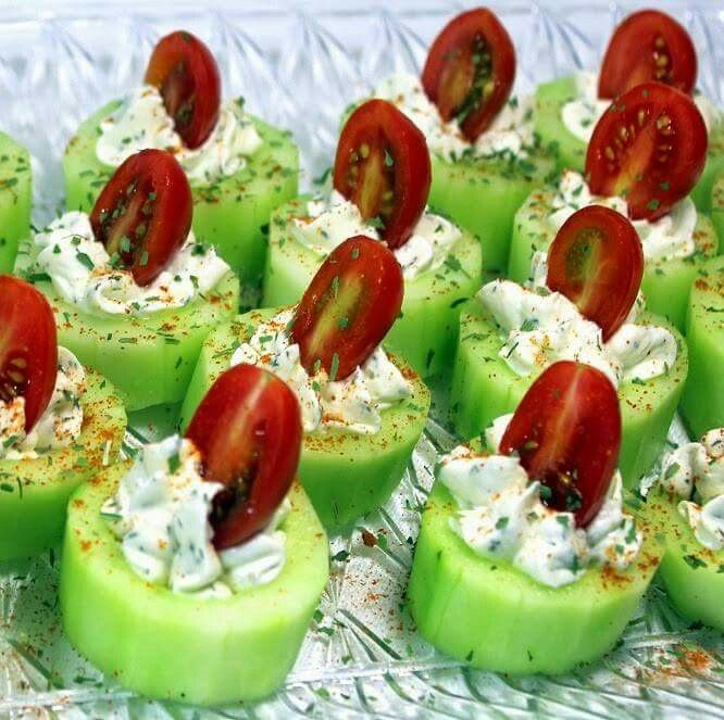 Cucumber,herb cream cheese w/ranch and sliced cherry tomatoes