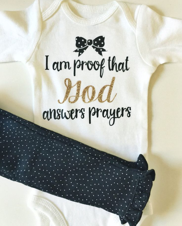 I am proof that God answers prayers Baby bodysuit/Onesie by ShopFrillsBoutique on Etsy https://www.etsy.com/listing/251865624/i-am-proof-that-god-answers-prayers-baby Miracle Baby Rainbow Baby For this child I have prayed I am proof that God answers prayers Baby outfit Baby onesie Baby shirt Infant clothing Home from the hospital outfit Shopfrillsboutique Frills Boutique