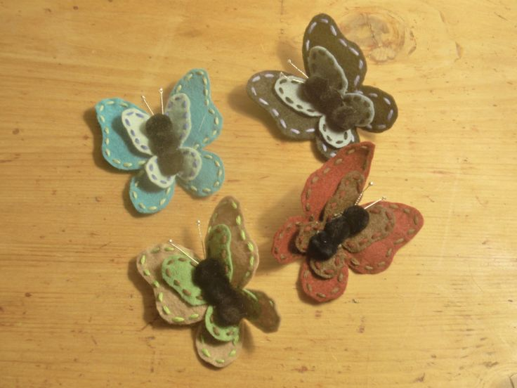 felt butterfly brooches