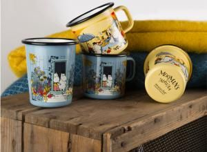 Moomins on the Riviera enamel mug collection.