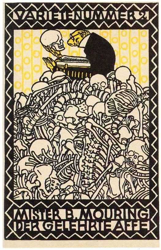 Bookplate by Moriz Jung, Wiener Werkstätte artist #hansmoleman #exlibris #skeletons: