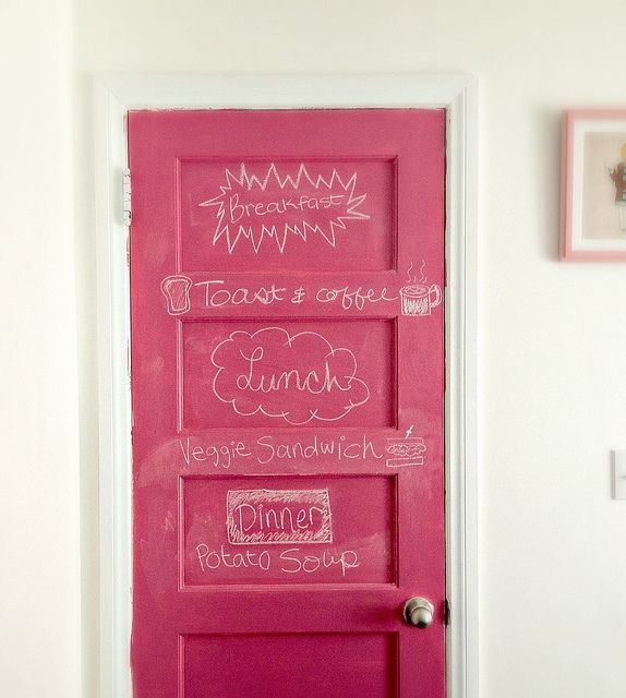 I didn't realize you could buy chalkboard paint in any color other than black. This blogger bought pink through Amazon. Great for the door of a little girl's room!