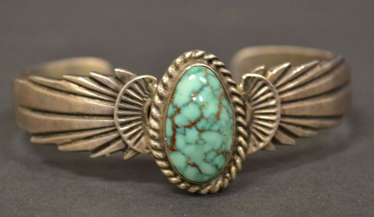 Vtg Native American Old Pawn Sterling Silver Stamped WB Turquoise Cuff Bracelet #Cuff
