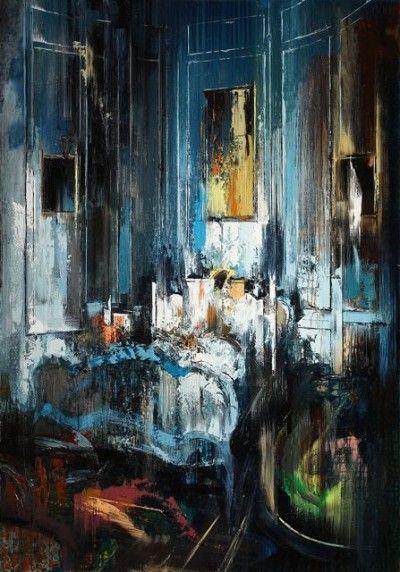 John Monks, Blue Bedroom, 2013, oil on canvas