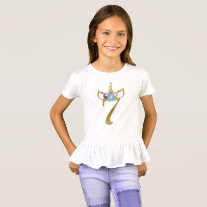 7 Years Old Unicorn Birthday Girl For Kids T Shirt