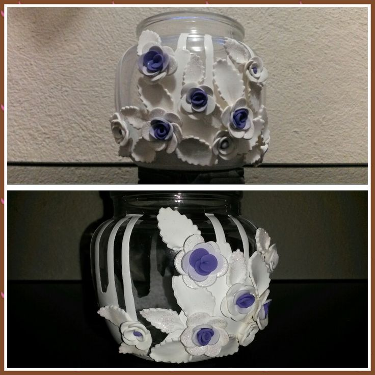 White Polymer Clay Flower Bottle