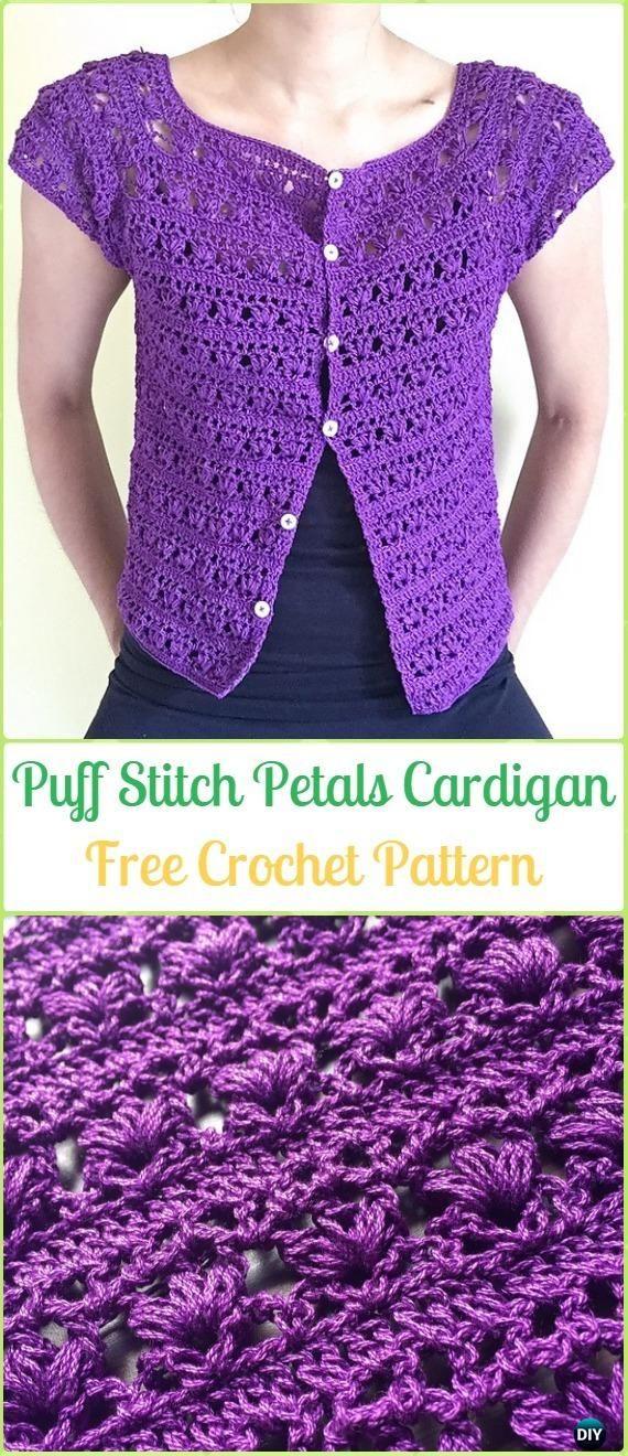 Crochet Puff Stitch Petals Cardigan Free Pattern - Crochet Women Sweater Coat & Cardigan Free Patterns