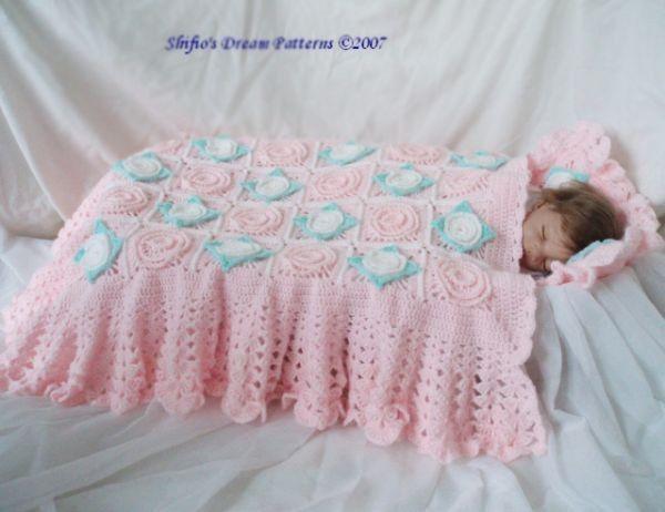 Knitting Pattern Moses Basket Blanket : CROCHET PATTERN Baby Moses Basket Cover, Blanket, Afghan, Pillow Crochet Patt...