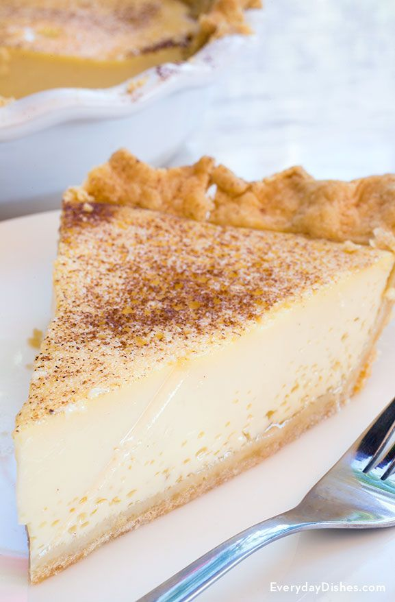 This creamy classic custard pie is an elegant dessert that's deliciously light and easy to make ahead of time.
