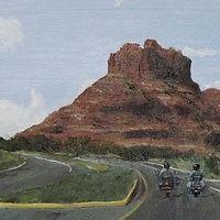 A ride to Sedona  Oil On Board 9 X 12 Ins A ride to Sedona, Arizona USA