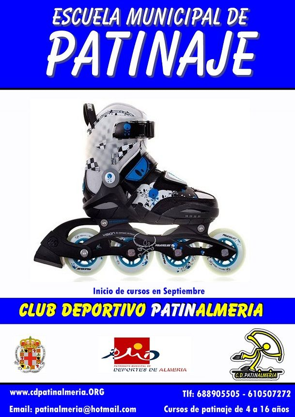 Escuela municipal de #patinaje en #Almería con CD. Patinalmeria. Patinaje , juegos, actividades sobre patines para niños, partidos de hockey, carreras y mucho más. Deja que tus hijos disfruten y aprendan sobre ruedas.. www.cdpatinalmeria.org