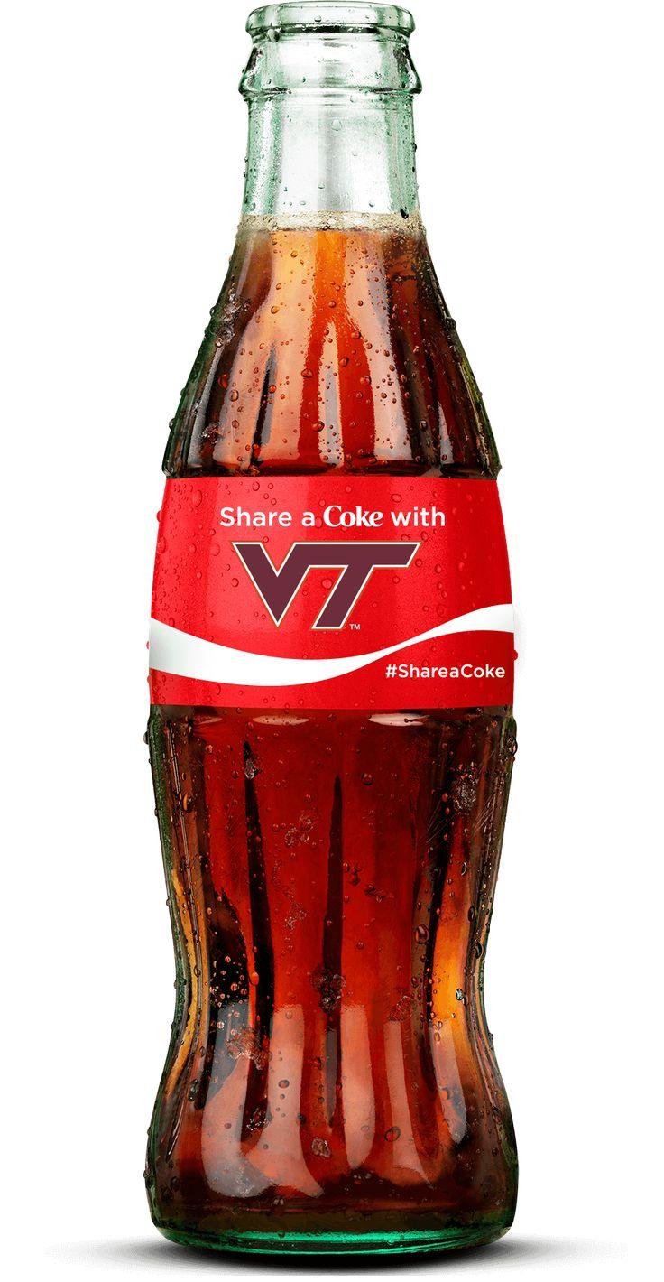 Show your team pride with a custom Virginia Tech 8 fl. oz glass Coca-Cola bottle.