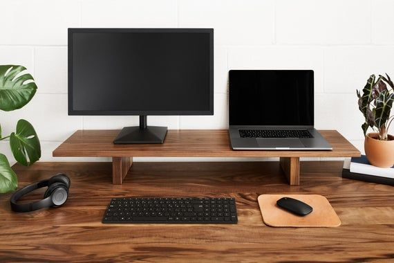 Dual Wood Monitor Stand Desk Shelves Monitor Stand Monitor