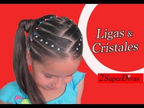 VIDEO Paso a paso - Peinado infantil. Ligas de colores  y coletas decorado con cristales.