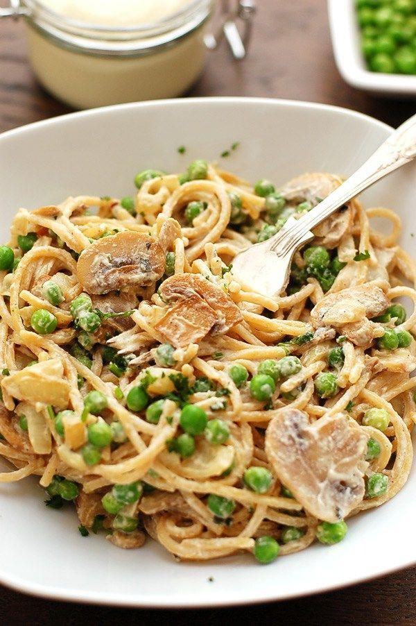 Spaghetti Pasta Carbonara with delicious, creamy, vegan cashew cheese. Gotta try this with some GF pasta! Yum!