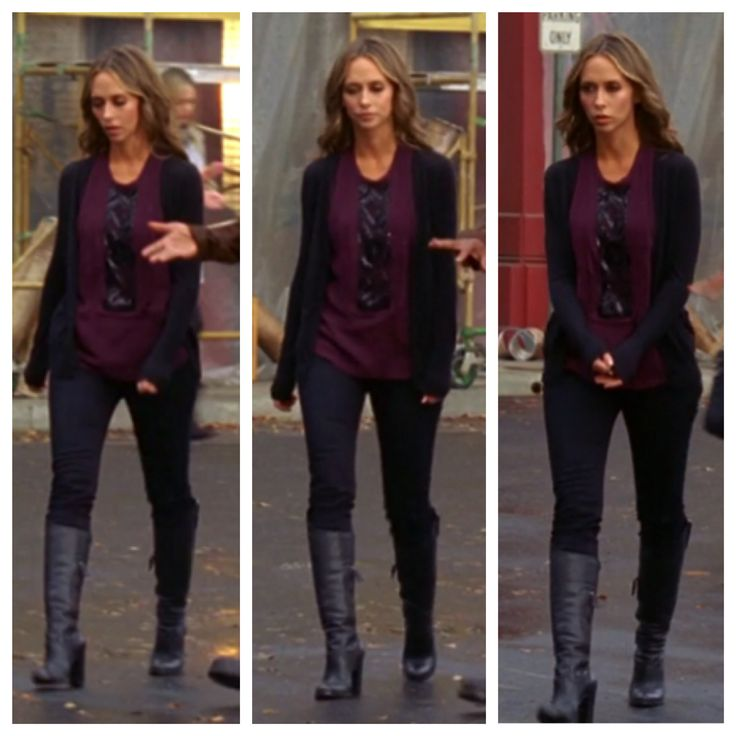 "Melinda Gordon's (Jennifer Love Hewitt) purple blouse, black sweater, and leather boots on Ghost Whisperer Season 5 Episode 8 ""Dead Listing"""