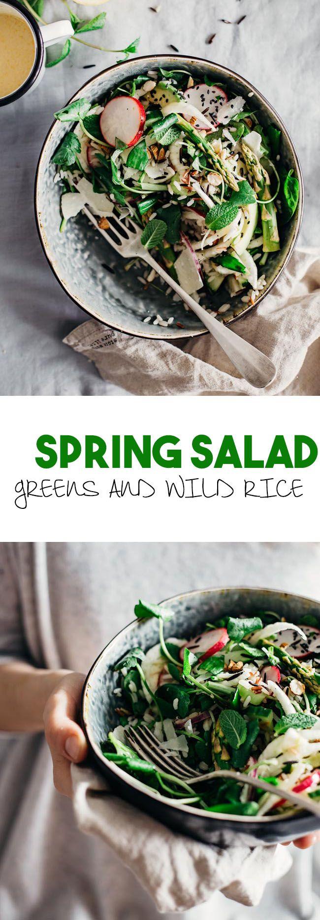 Spring Gratitude Salad, with greens, crunchy veggies and wild rice # ...