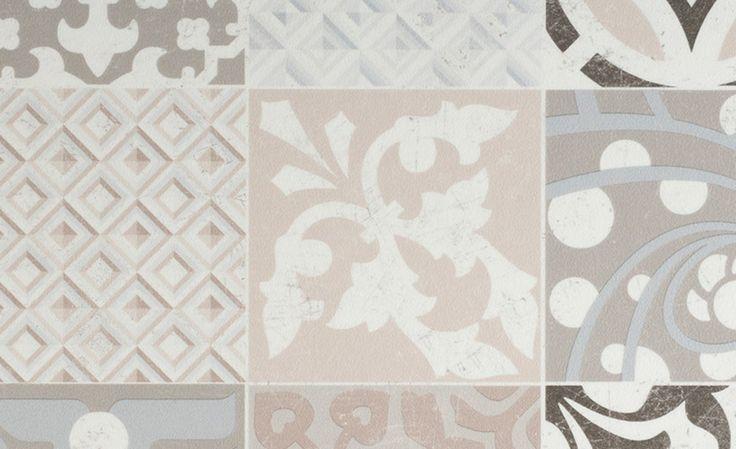 Sol vinyle TEXLINE, carreau ciment beige et marron, rouleau 2 m - Sol Vinyle…