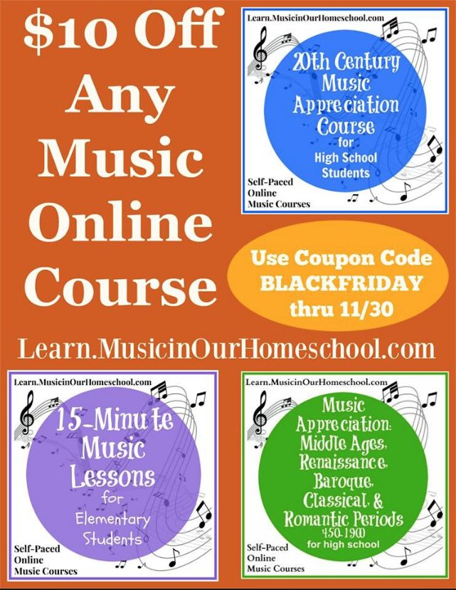 Get $10 off any of these online music courses.  (Find out which two are our current favorites for my teenagers, too)