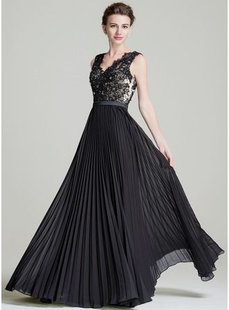 Vestidos princesa/ Formato A Decote V Longos Tecido de seda Vestido de festa com…