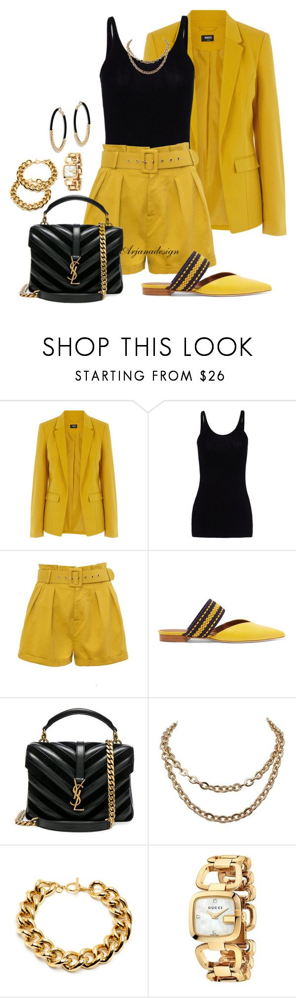 """DRESSY SHORTS"" by arjanadesign ❤ liked on Polyvore featuring Oasis, T By Alexander Wang, Malone Souliers, Yves Saint Laurent, Gucci, Ettika, shorts and roksanda"