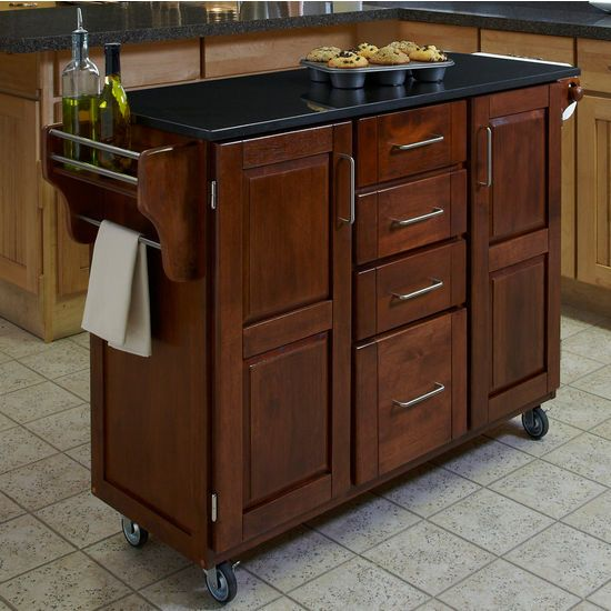 Kitchen Cart With Cabinet: Carts - Mix And Match Dark