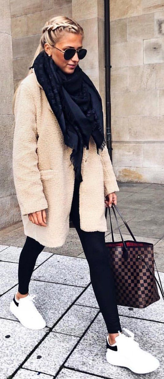 #winter #outfits beige fleece coat