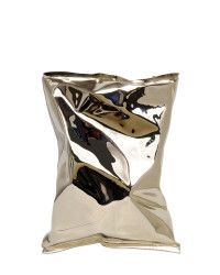 Anya hindmarch Crisp Packet Metal Clutch in Silver | Lyst