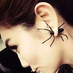 Punk Men Women Black Spider Charm Ear Studs Earrings Jewelry 1pc