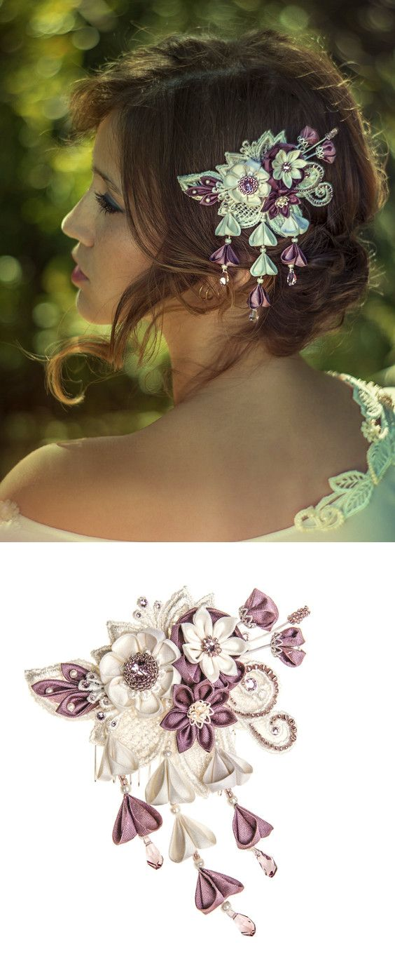Unique bridal headpiece with a touch of purple