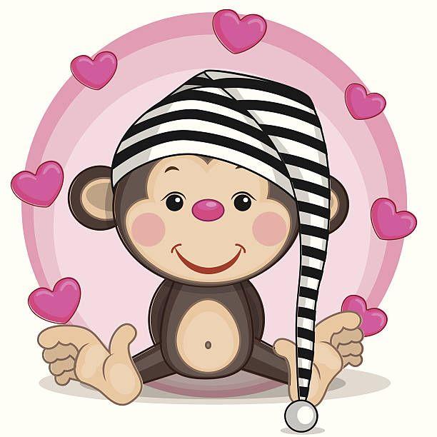 Monos y corazones - ilustración de arte vectorial