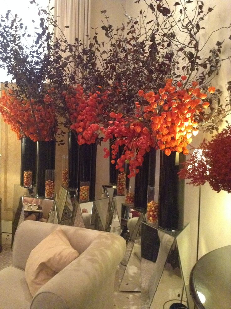 Autumnal colours flowers installations