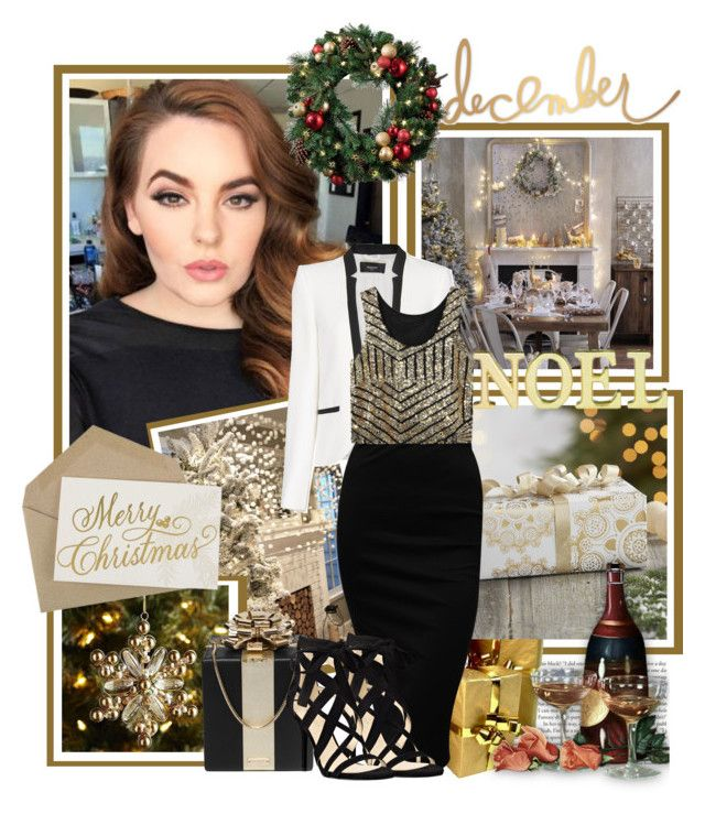 """""""Merry Christmas"""" by shakeyd23 on Polyvore featuring Crate and Barrel, MANGO, Kate Spade, Laura Ashley, Nine West, Christmas, holidays, holidaystyle and HolidayParty"""