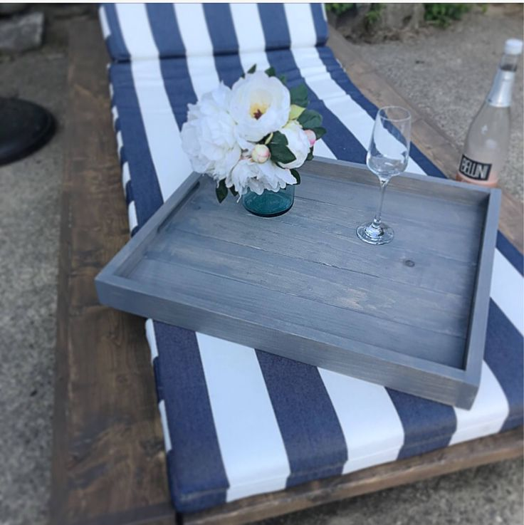 Wood Serving Tray in weathered grey stain