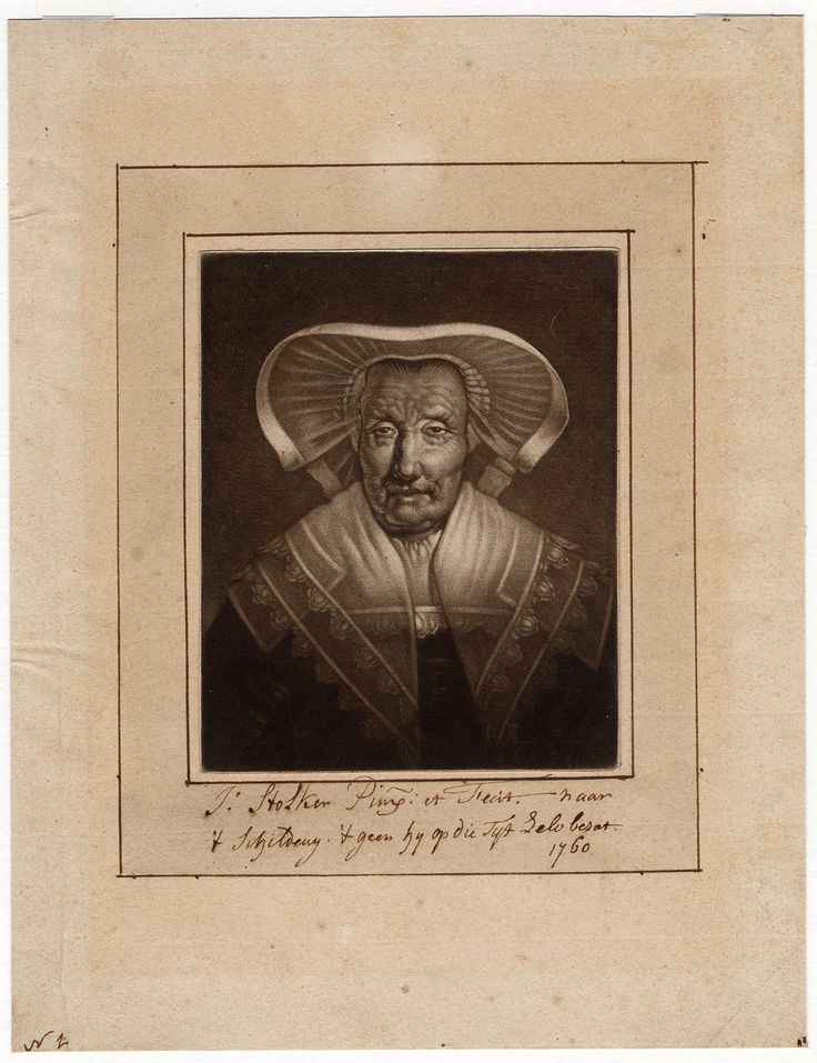 The Prints Collector :: Portrait of a woman in a lace headdress, mezzotint by Jan Stolker (1742-1785).