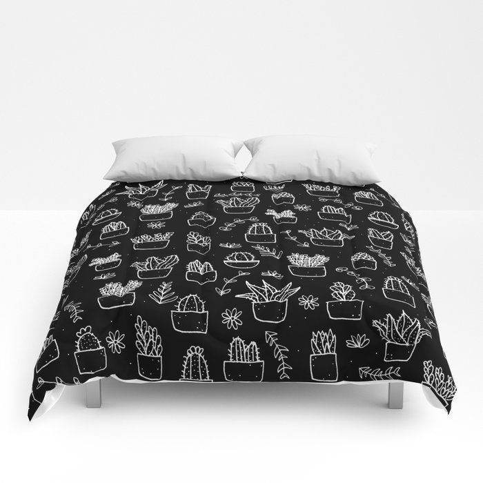 Buy Potted Plants Pattern White On Black Comforters By Laurelmae Worldwide Shipping Available At Society6 Com Just One Black Comforter Bed Decor Comforters