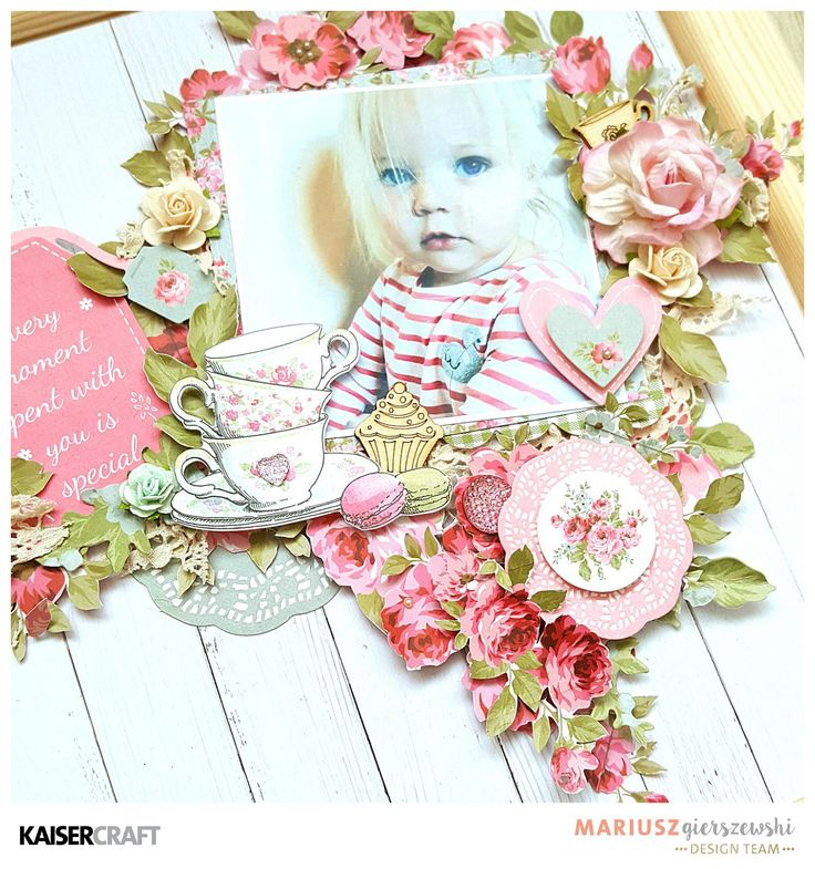 Hi Kaisers, Mariusz here with the sweety layout made of incredible new collection for April – High Tea. It is amazing collection for everyone who love shabby chic style! 'Special moment with you' Kaisercraft Products High Tea: P2277 Devonshire | PP1017 Paper Pad | CT879 Collectables | FL598 Flourish Pack| SB713 Pearls – Pearl | SB788 Pearls – Plum | SB701 Rhinestones – Soft Pink | SB702 Rhinestones – Hot Pink | P2278-High Tea Biscuit| PK557-Paper Pack with Bonus Sticker Sheet Other: Frame…