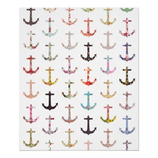 Ancres nautiques florales girly de rétro marin vin affiches